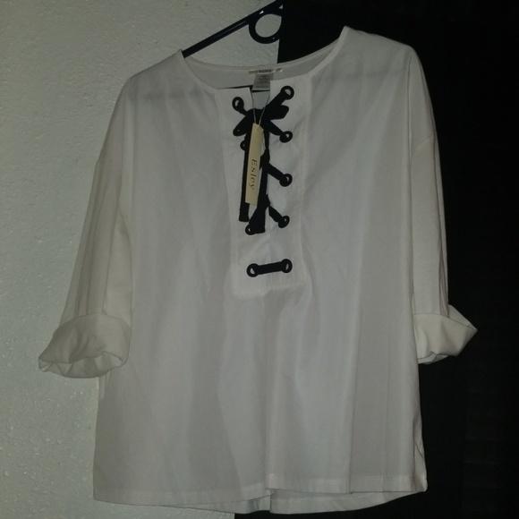 60793399f5fdc2 Esley Tops | Nwt White Top W Black Tie By | Poshmark